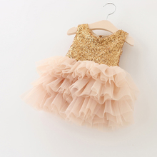 Golden Sequined Princess Kids Dress Patchwork Layered Mesh Two Super Bow Girls Dresses for Wedding vetement fille Size 1-6T