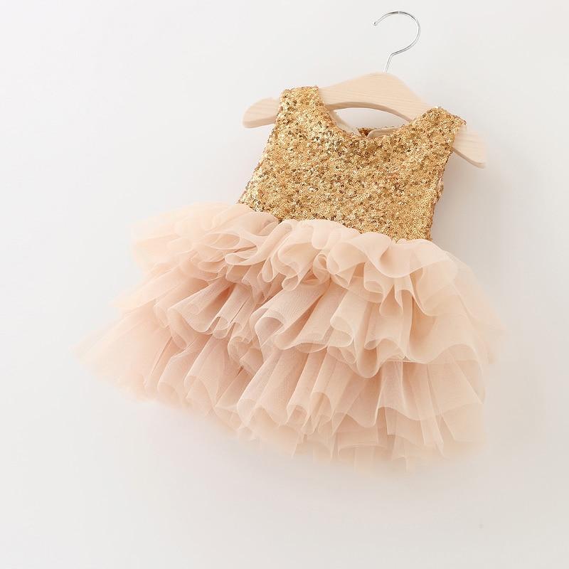 Vestido de princesa con lentejuelas doradas para niños, vestido de dos Super vestidos para niña con lazo y malla en capas de retazos para boda, talla 1-6T