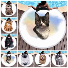Summer Large Microfiber Round Beach Towel 3d Cartoon Cat Printed Tapestry For Adults Tassel Bath Towel Yoga Mat Travel Blankets(China)