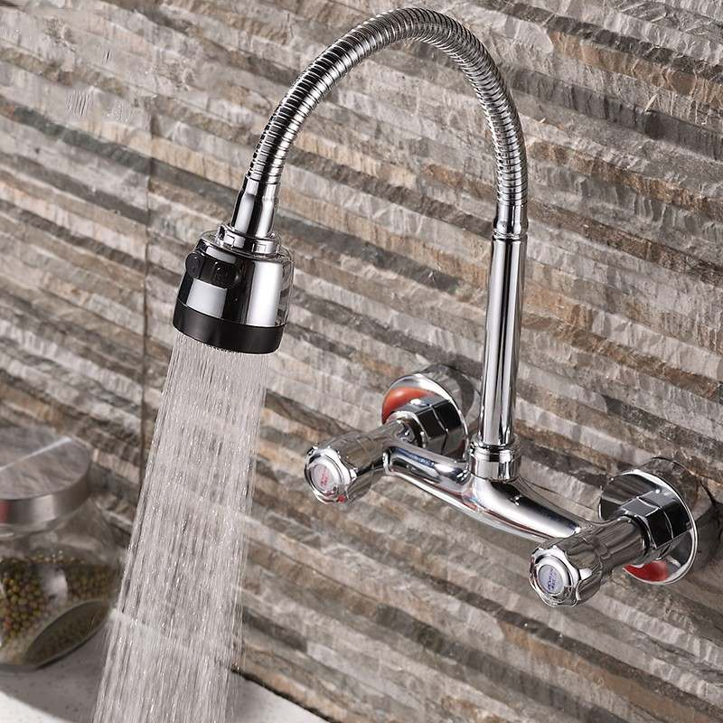 Xueqin 360Rotation Pull Down Kitchen Sink Spray Faucet Wall Mounted Chrome Modern Dual Handle Mixer Tap Cold And Hot Water Tap