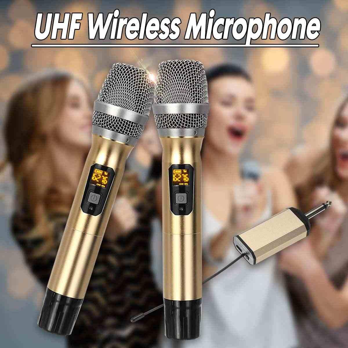 2 ハンドヘルド UHF ワイヤレスマイクカラオケマイクシステムコードレスプレーヤーミニデジタル受信機ステージバー実行します