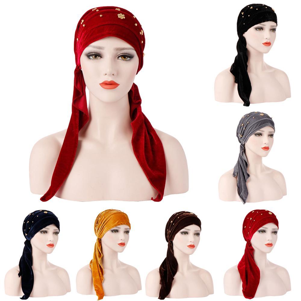Femmes musulmanes Turban chapeau velours perlé foulard Bonnet Femme Musulman Hijab casquettes envelopper tête écharpe Turbante chapeaux islamique