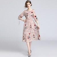 2019 Women Drawstring Bow Half Sleeve Elegant Flower Embroidery Summer Dresses Elastic Waist Floral Chiffon Dress