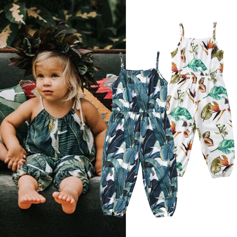 2019 Boho Style Infant Toddler Kids Baby Girls Floral Sleeveless   Romper   Suspender Outfits Playsuit Fashion Summer Cute Jumpsuit