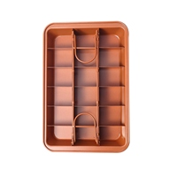 SNNY Non Stick Brownie Pan Tin With Dividers,Heavy Duty Divided Brownie Tray,18 Cavity,12 By 8 Inches,Dark Gold