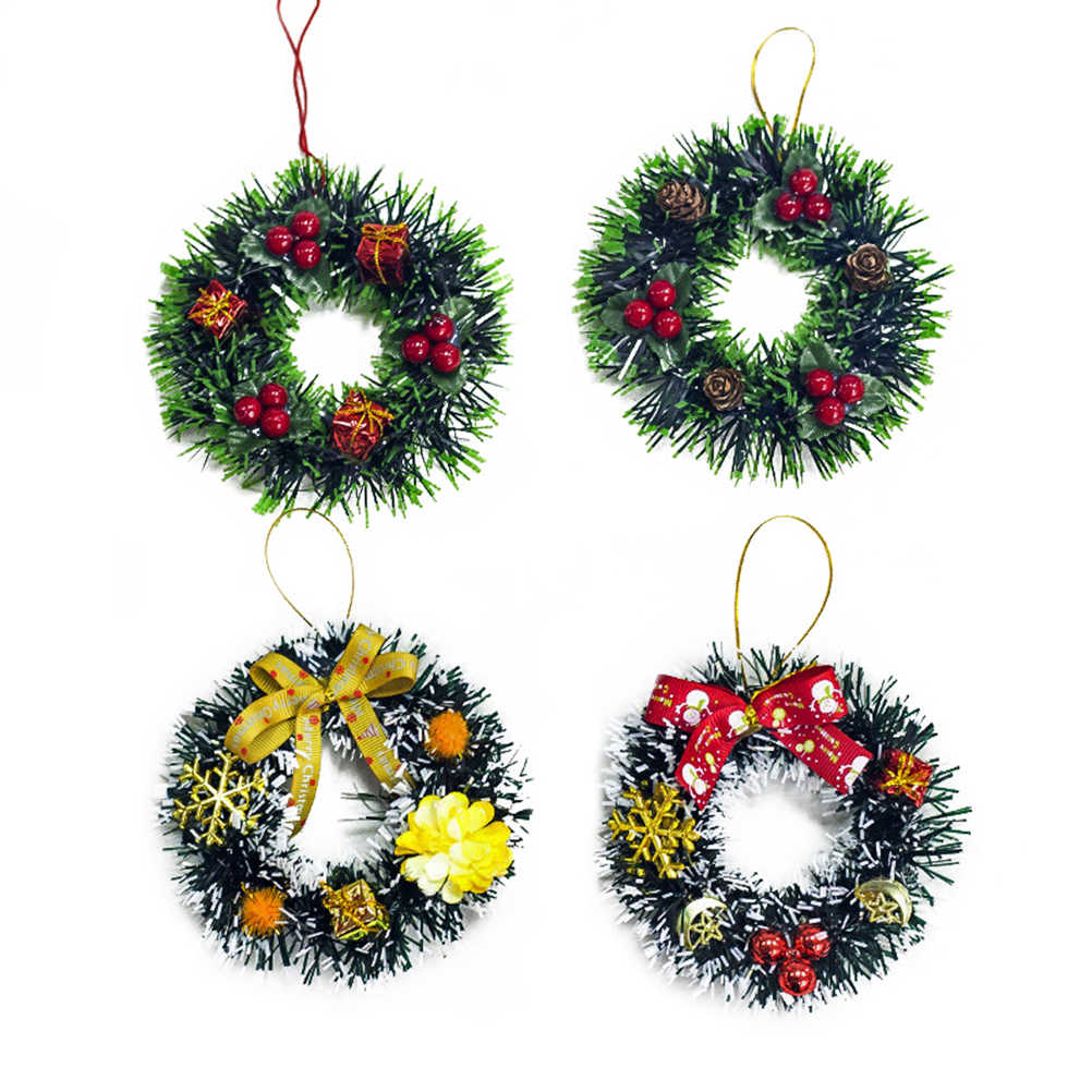4pcs Front Door Wall Wreaths Shop Window Porch Staircase Entry Garlands Wreaths Decorations For Holiday Home Christmas