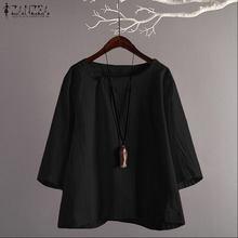ZANZEA Women Shirt Blouse Vintage One Button Blusas Ladies C