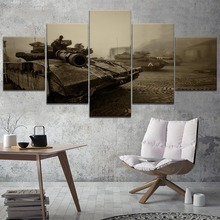 5 Panel Tank War Canvas Printed Painting For Living Room Wall Decor HD Picture Artworks Poster5