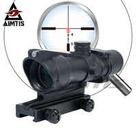 AIMTIS Enhanced Hunting ACOG 308 4X32 Scope Real Optic Fiber Source Red Green Illuminated Scope Tactical Riflescope for Rifle