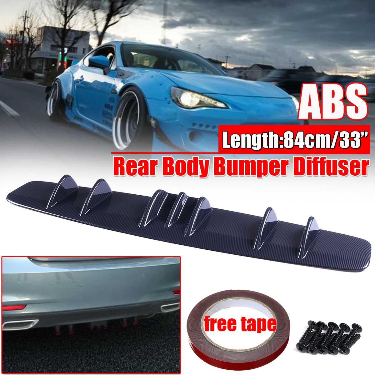 Universal Car Rear Bumper Lip Diffuser Spoiler Splitter Carbon Fiber Look Haaienvin Stijl Gebogen Voor Benz Voor Audi Voor ford 84cm