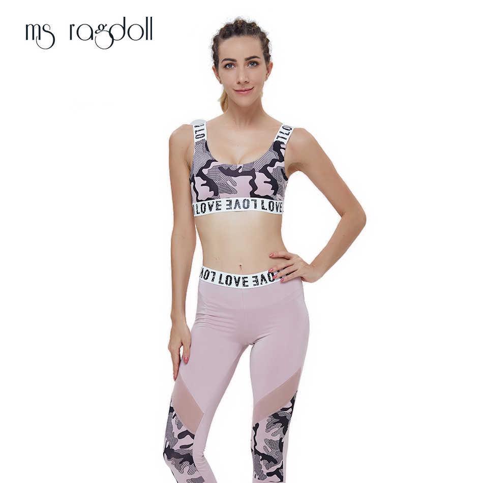 3f46c52dcf42e5 Two Piece Yoga Set Women Camouflage Print Suit Bra+Leggins Sport Pants Women  Patchwork Suits