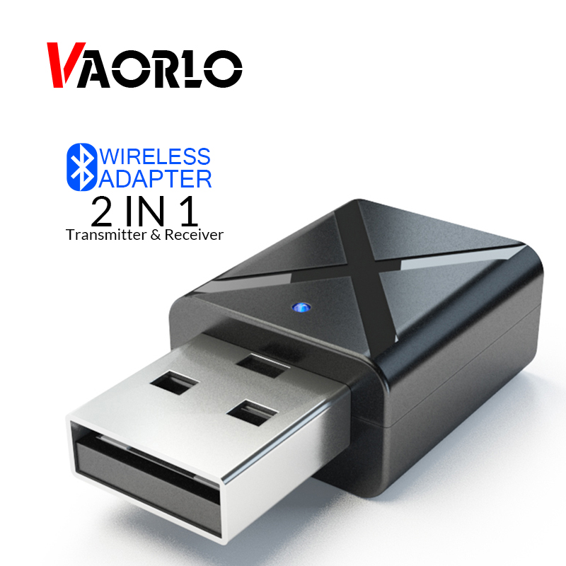 VAORLO USB Bluetooth Adapter 5.0 Bluetooth Audio Transmitter Receiver 3.5MM AUX Stereo Music Wireless Adapter For TV PC Car Kit