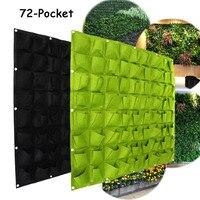 72 Pockets Wall Hanging Planting Bags Wall Vertical Garden Seedling Plant Garden Flowers Home Supplies Green/Black
