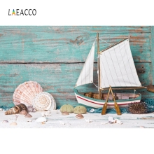 Laeacco Wooden Starfish Shell Sailboat Baby Party Photography Backgrounds Customzied Photographic Backdrops For Photo Studio