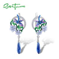 SANTUZZA Silver Earrings For Women 925 Sterling Silver Delicate Dragonfly Flower Drop Earrings Fashion Jewelry Handmade Enamel