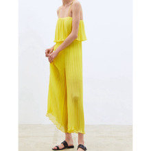 Women Sleeveless High Street Solid Ruffle Sling Jumpsuits Casual Pleated Wide Leg Jumpsuit Loose Spaghetti Strap Chiffon Rompers sleeveless pleated jumpsuit