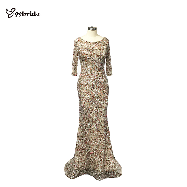 YYbride Luxury Colorfully Beading Prom Dresses Full Sleeves Scoop Neck Dresses BlingBling Crystals Mermaid Court Evening Dresses