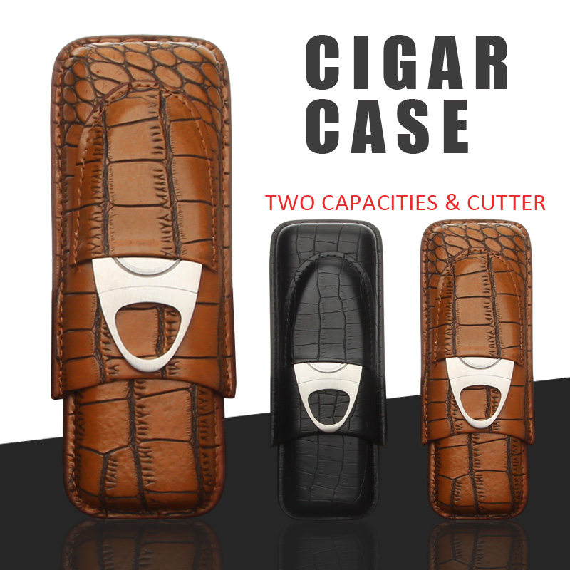 GALINER Leather Travel Cigar Case Portable 2 Tube Holder Humidor Cigars Accessories For Cohiba W/ Cigar Cutter & Gift BoxGALINER Leather Travel Cigar Case Portable 2 Tube Holder Humidor Cigars Accessories For Cohiba W/ Cigar Cutter & Gift Box
