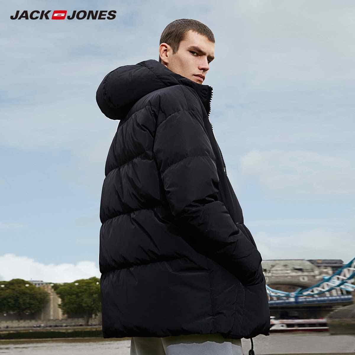 JackJones, мужская зимняя куртка с капюшоном на утином пуху, мужская повседневная модная куртка, 2019, брендовая новая мужская одежда 218312531