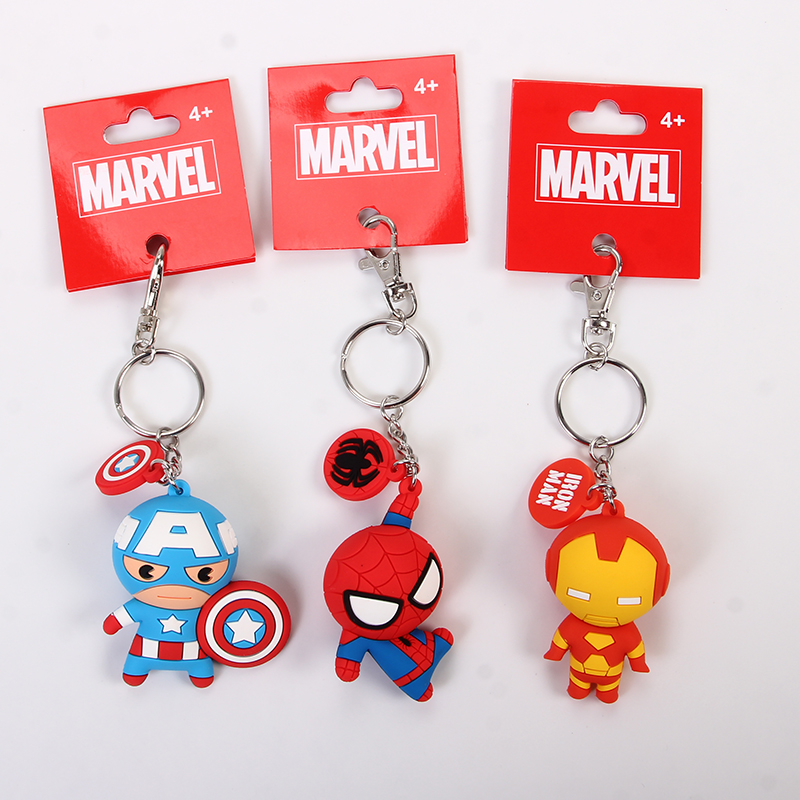 Spiderman Key Holder Charm Keychain Keyring Revengers Figures Pop Key Chain Women Bag Key Wallet Parts Free Shipping