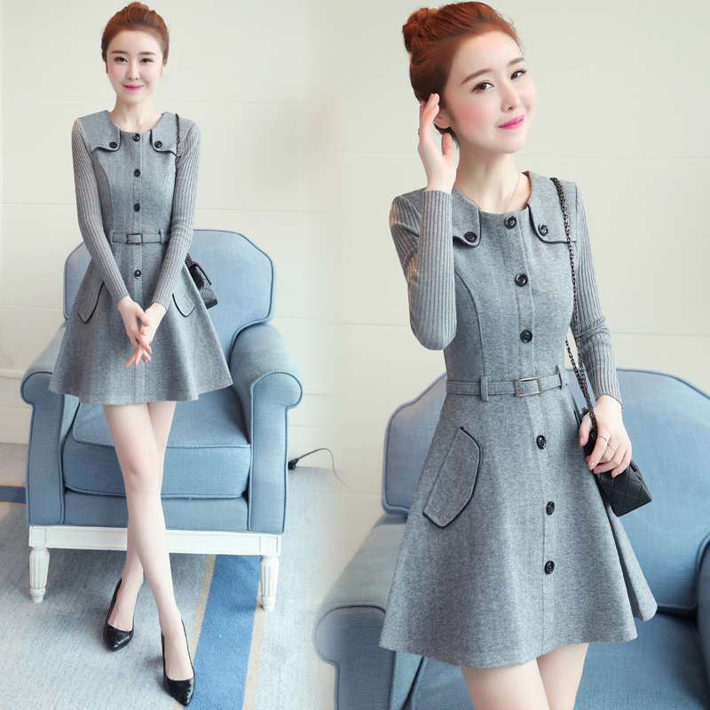 winter new round collar single-breasted cloth dress belt buttons A word women dresses Korean fashion outfit lady vogue vestido 1