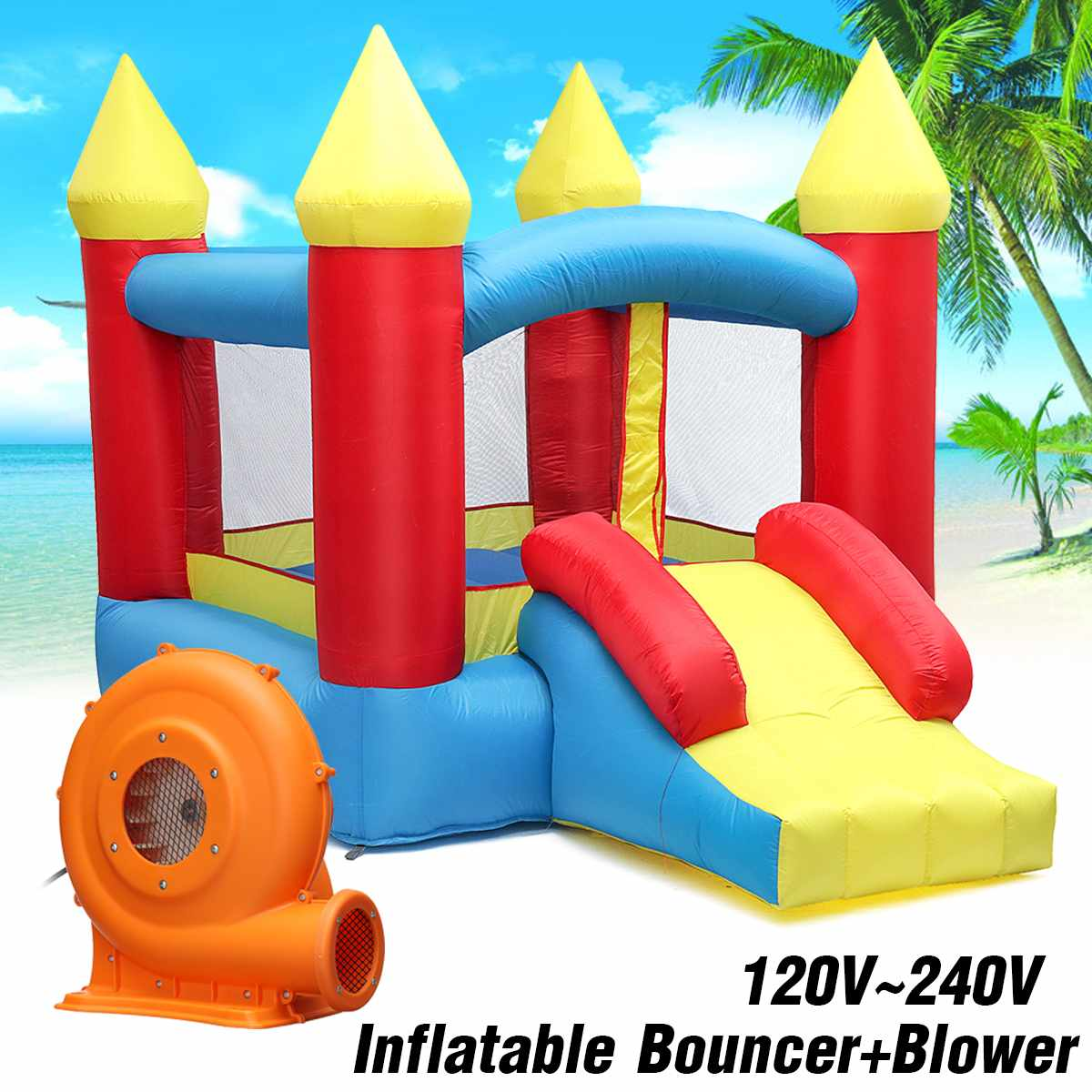 EU/US Plug Kids Play Game  Inflatable Castle  Multi-function  Inflatable Trampoline with 380W Inflatable BouncerEU/US Plug Kids Play Game  Inflatable Castle  Multi-function  Inflatable Trampoline with 380W Inflatable Bouncer