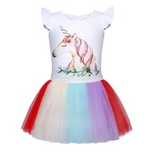 AmzBarley Girls Unicorn Rainbow Tulle Dress Summer Short Sleeve Tutu Birthday Cosplay Party Fancy Flower Princess Outfits
