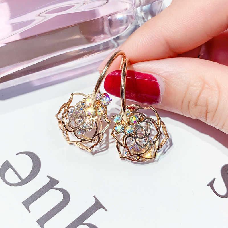 Fyuan Zircon Bunga Menjuntai Anting-Anting untuk Wanita 2019 Bijoux Indah Warna Emas Mawar Kristal Drop Anting-Anting Perhiasan