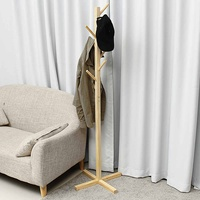 Wood Coat Rack Hanger Hook Wall Hat Hanger Cloth Scarves Bag Modern Floor Standing Cost Hanger Living Room Bedroom Furniture