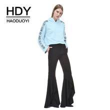 HDY Haoduoyi Women Simple Short Paragraph College Wind Street Loose Long Sleeve Hooded Sweatshirt