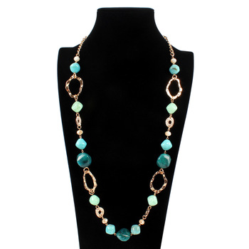 d3359cecb405 HFYK 2019 collar de cadena de tres capas de cristal para mujer collar largo  para fiesta de joyería ...