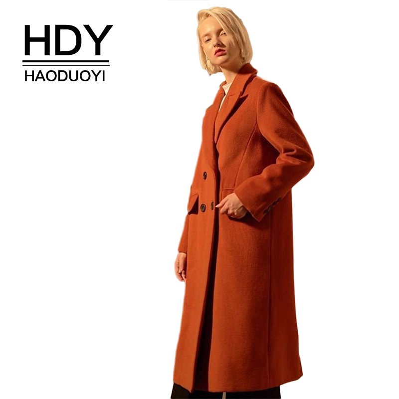 HDY haoduoyi  Classic Simple And Generous Temperament Double-Breasted Back Slit Ladies Wool Coat