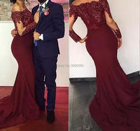 Burgundy Red Mermaid Evening Dresses 2017 Bateau Neck Long Sleeves Sequins Appliques Satin Cheap Prom Dresses Party Evening Wear