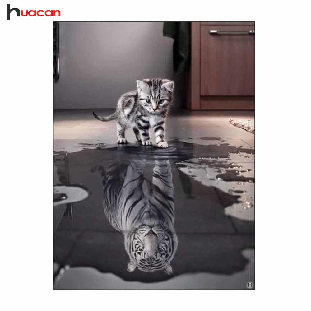 Huacan Cat Diamond Embroidery Full Kit DIY Diamond Painting Cross Stitch Animals Picture Rhinestones Mosaic Wall Decoration