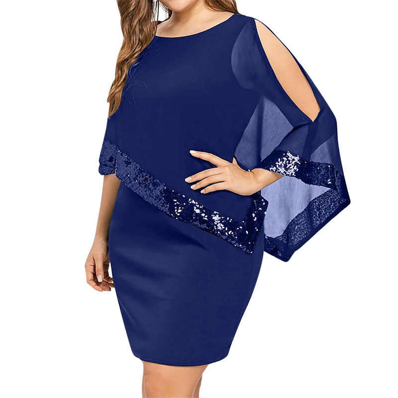 Wipalo de talla grande elegante mujeres vestido de fiesta malla lentejuelas Patchwork manto asimétrico manga vestido ajustado sólido Casual Vestidos