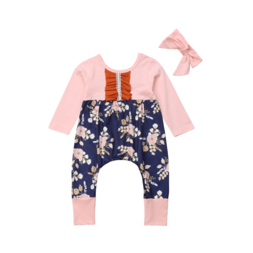 FlowerNewborn Baby Girls Romper Cotton Casual Cute Jumpsuit Headband 2pcs Outfits Clothes Baby Girl 0-24M