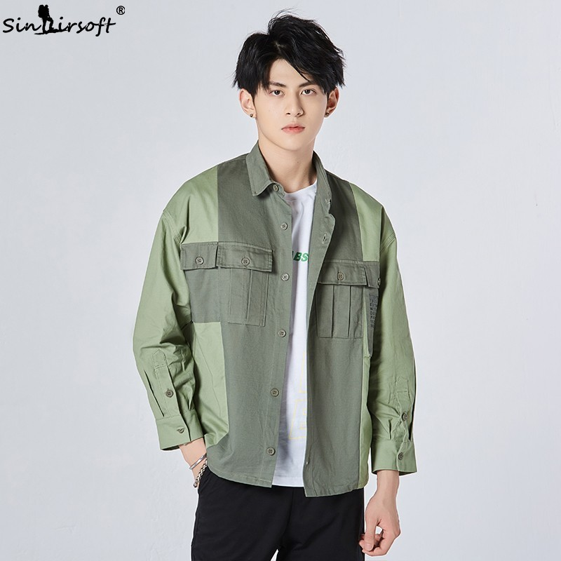 2019 Summer Men 39 s Long sleeved Shirt Cotton Loose Jacket Quality Clothing Big Pocket Jacket Men 39 s Jacket New Listing XL XXL in Jackets from Men 39 s Clothing