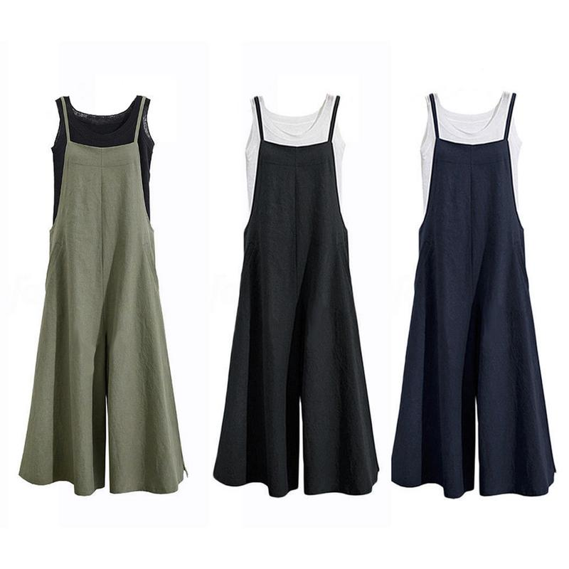 2018 New Women Flax Overalls Wide Leg Pants Vocation Dungarees Casual Cotton Linen Jumpsuits Long Trousers Plus Size M-5XL