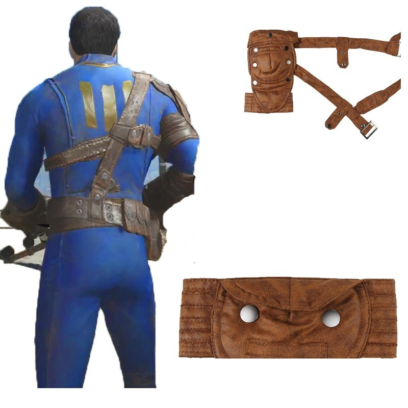Fallout 4 Cosplay PC Game Nate Costume Leather Waist Belt Cuffs Shoulder Armor Elbow Supporter Accessories Carnival Halloween
