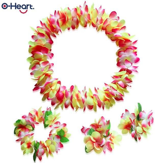Collier en fleurs artificielles hawaïennes   Ensemble de 4 pièces, guirlande épaisse pour la plage, cadeaux danniversaire pour fête, noël, Navidad