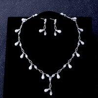 Fashion Cubic Zirconia Necklace Earrings Jewelry Set Simulated Pearls Wedding Bridal Choker Pierced Drop Earrings Women Gift New