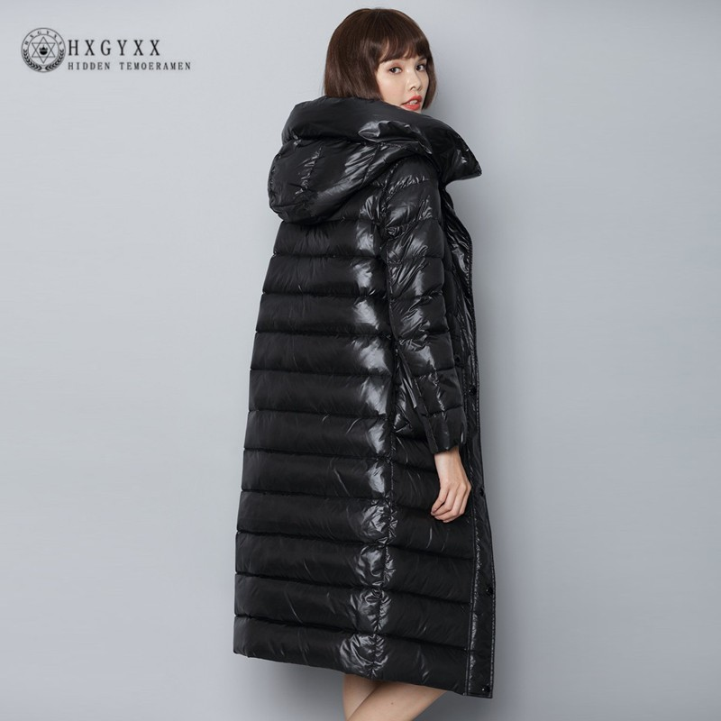 90% White Duck   Down   Jacket Woman Winter Feather   Coat   Long Black Warm Outerwear 2019 Slim   Down   Parka Light Female Clothing Okd551