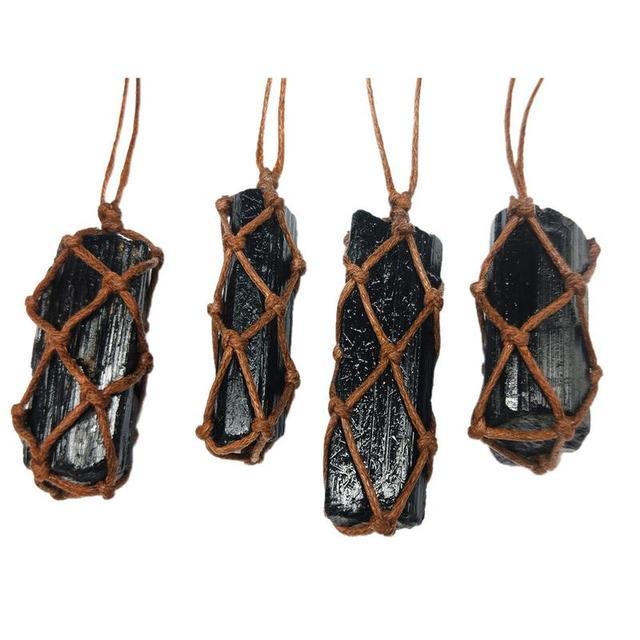 1 Pcs Natural Black Tourmaline Retro Raw Gemstone Pendant Crystal Hand-Woven Jet Stone Ore Radiation Protection Stone Craft