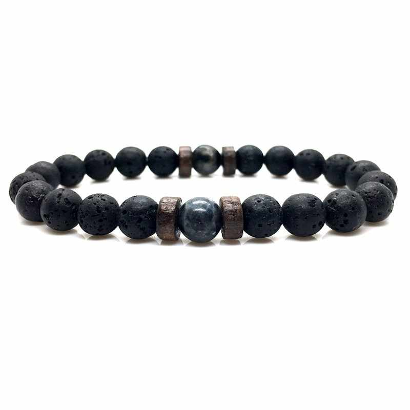 Pulseira de pedra da lua natural grânulo de buda tibetano pulseira chakra lava pedra difusor pulseiras masculino jóias presente transporte da gota