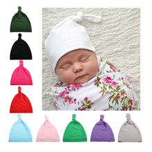Newborn Baby Hats Solid Beanies Knotted Cap Sleep Wear Soft Cotton for  Boys Girls