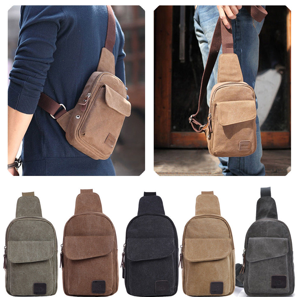 Small Chest Sling Travel Hiking Cross Body Men Canvas