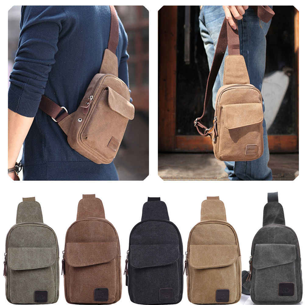 Men's Small Chest Sling Bag Travel Hiking Cross Body Messenger Shoulder Backpack Solid Men Canvas Bag