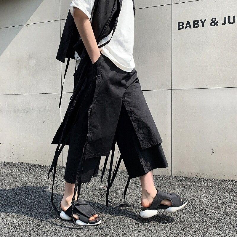Pantalon décontracté à jambes larges Punk gothique Hip Hop ruban Harem pantalon hommes Style japonais Streetwear Kimono jupe pantalon mâle lâche été