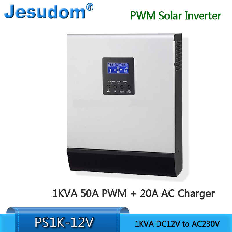 1KVA 800Watts Pure Sine Wave Hybrid Solar Inverter Built in PWM Solar Charge Controller for Home