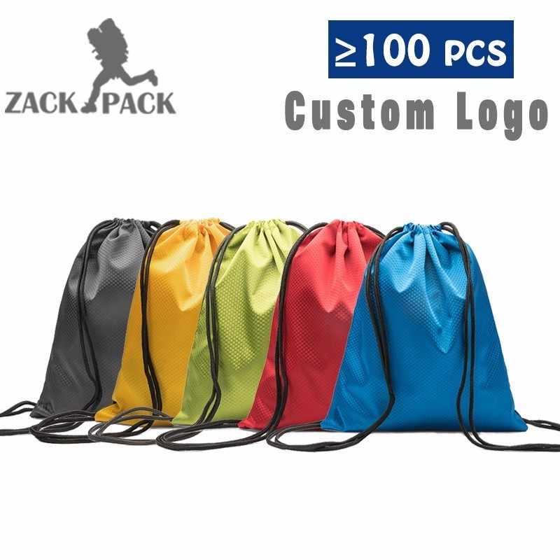 3b901ab39 Bolsa impermeable bolsa personalizar Logo Oxford mochila de cuerda de Nylon  mujeres pequeñas deportes bolsas de